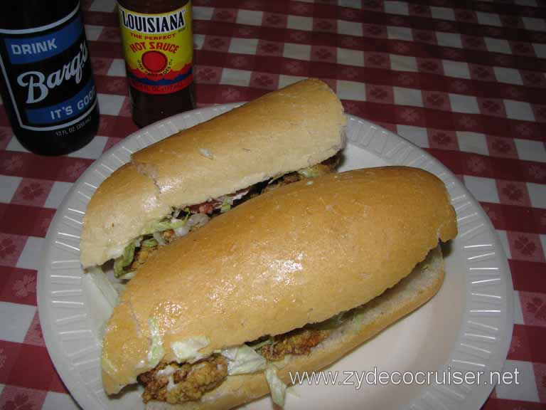 024: Johnny's Pobys, New Orleans, LA - Oyster poboy dressed, and a Barq's rootbeer - Barq's Has Bite!