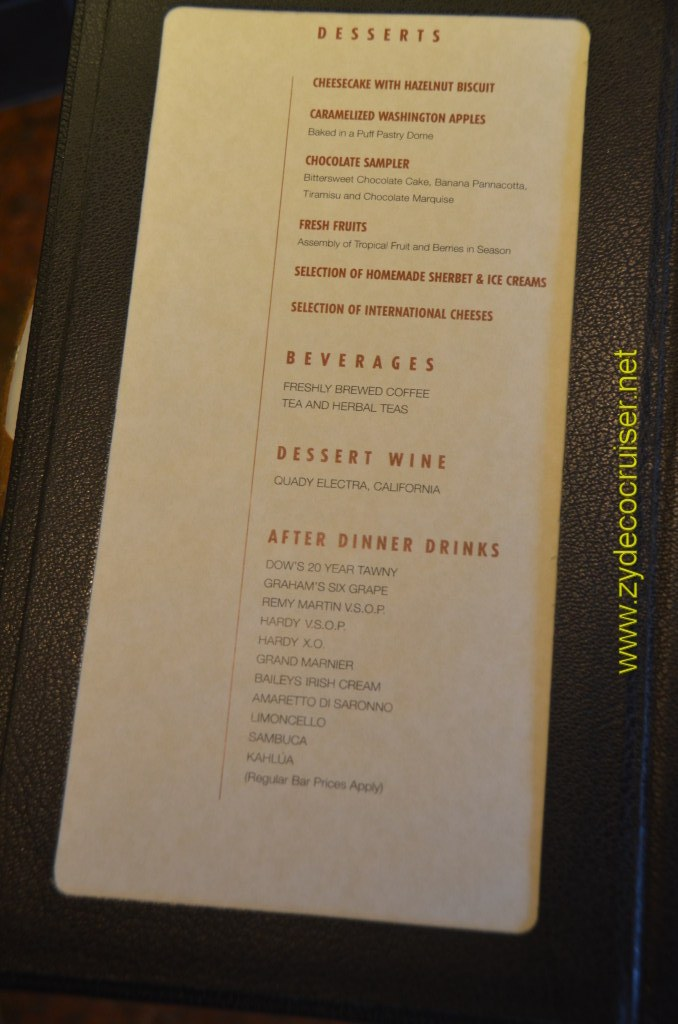 Carnival Magic, Prime Steakhouse, Menu, Desserts