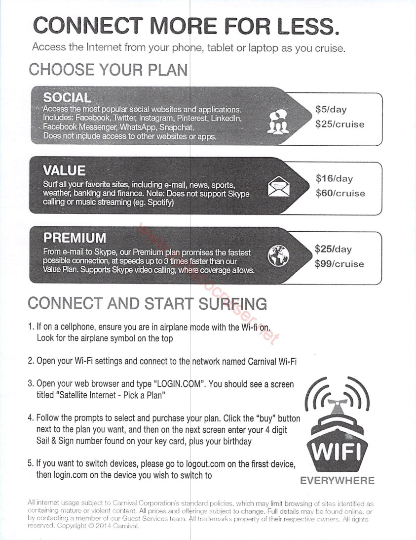 Ships with the new Internet packages - Carnival Cruise Lines ...