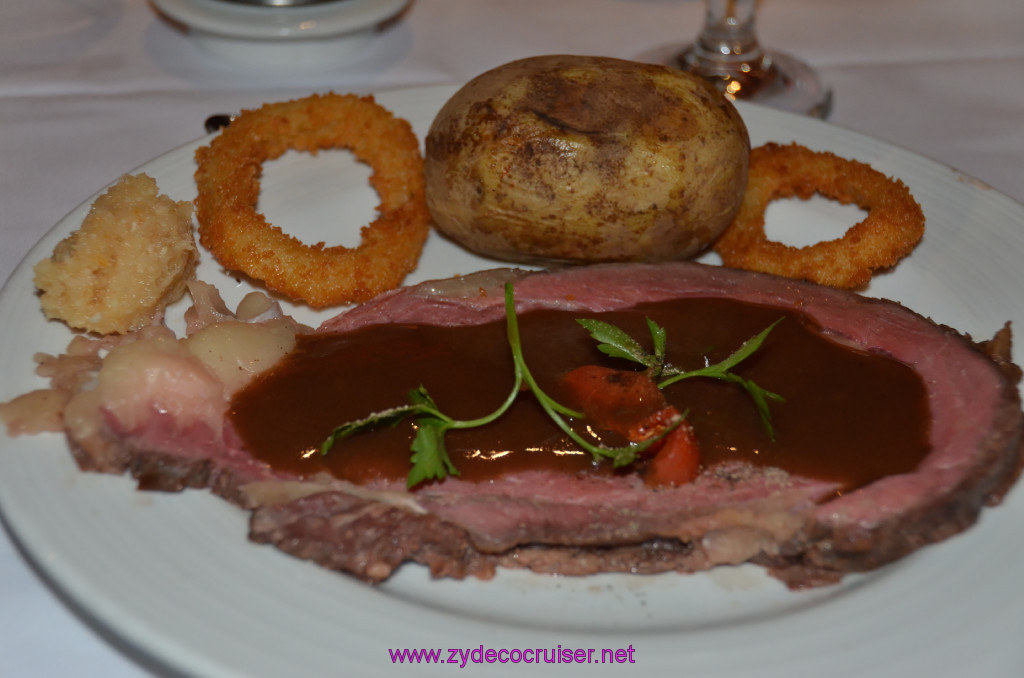 Carnival Conquest, Fun Day at Sea 1, MDR Dinner, Tender Roasted Prime Rib of America Beef au jus