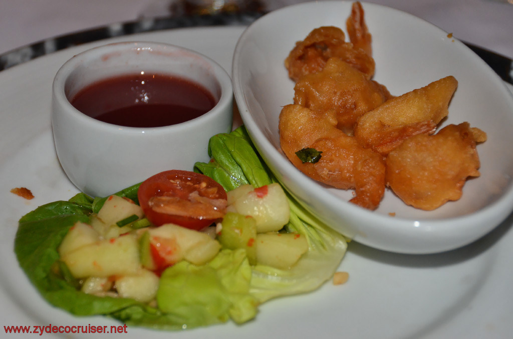 Carnival Conquest, Roatan, MDR Dinner, Fried Shrimp, Pickled Cucumbers and Plum Sauce,