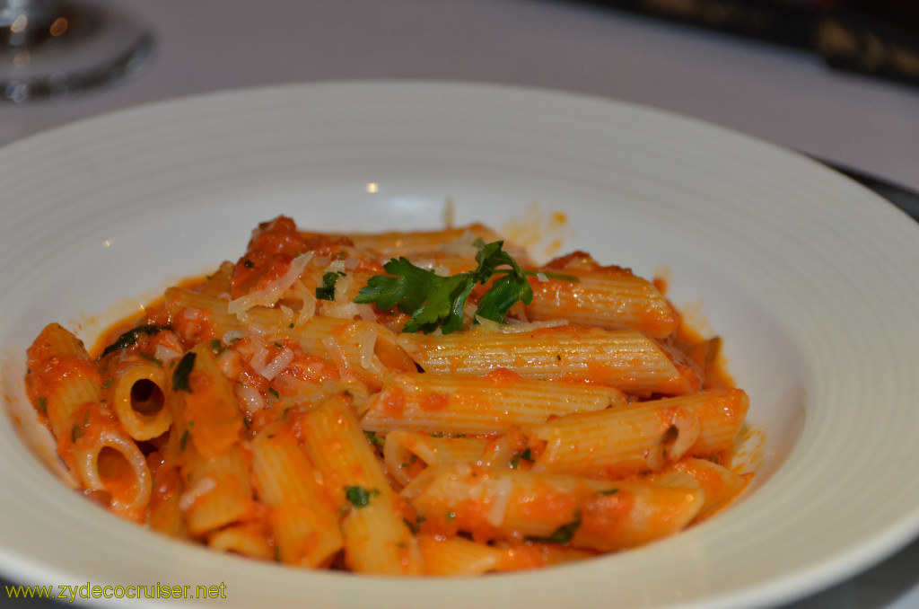 Carnival Conquest, Belize, MDR dinner, Penne Siciliana,