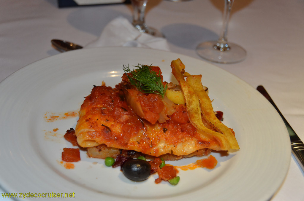 Carnival Conquest, Belize, MDR dinner, Martini Braised Basa Filet with Tomato, Chili, and Fennel,