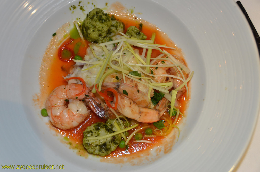 Carnival Conquest, Belize, MDR dinner, Grilled Jumbo Tiger Shrimps,