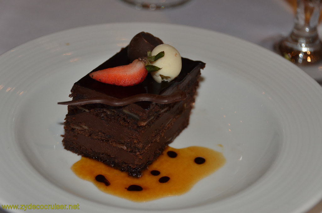 Carnival Conquest, Belize, MDR dinner, Amaretto Cake,