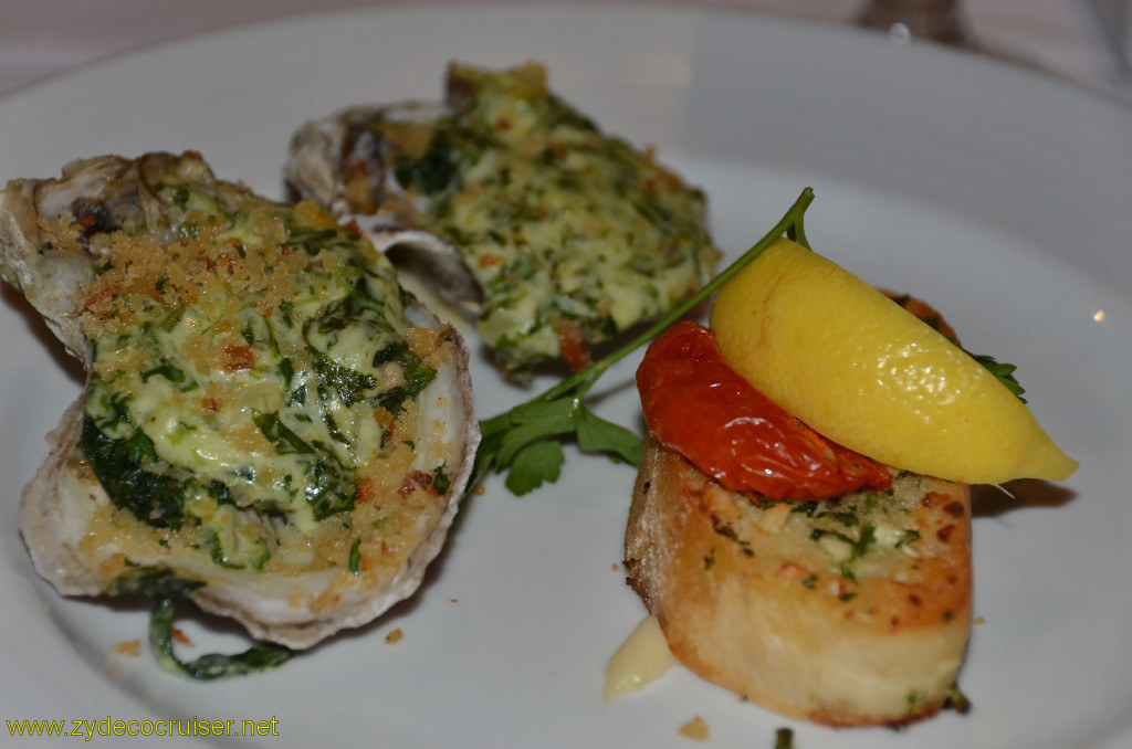 Carnival Conquest, Cozumel, MDR Dinner, Oysters Rockefeller,