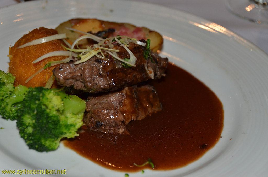 Carnival Conquest, Cozumel, MDR Dinner, Petite Filet Mignon and Braised Boneless Short-Rib,