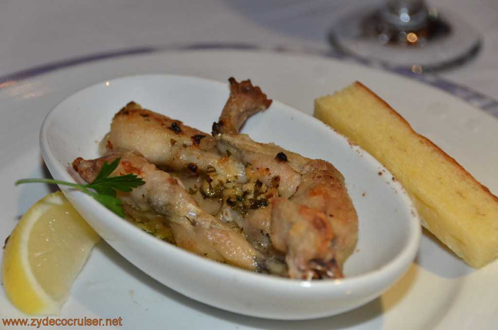 Carnival Conquest, Fun Day at Sea 3, MDR Dinner, Frogs Legs with Provençale Herb Butter,