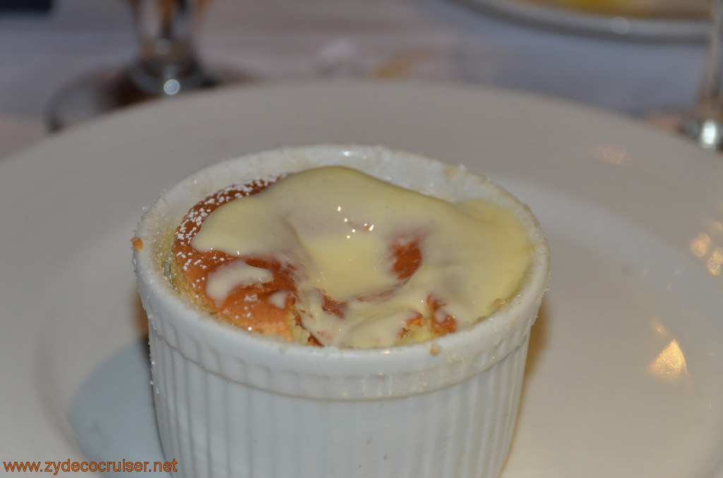 Carnival Conquest, Fun Day at Sea 3, MDR Dinner, Grand Marnier Soufflé,