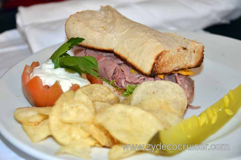 008: Carnival Magic Inaugural Voyage, Monte Carlo, Sea Day 3, Room Service Roast Beef and Cheddar on French Bread