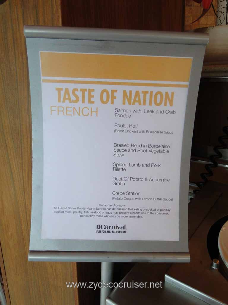 005: Carnival Cruise Lido Lunch, Taste of Nations, French Menu
