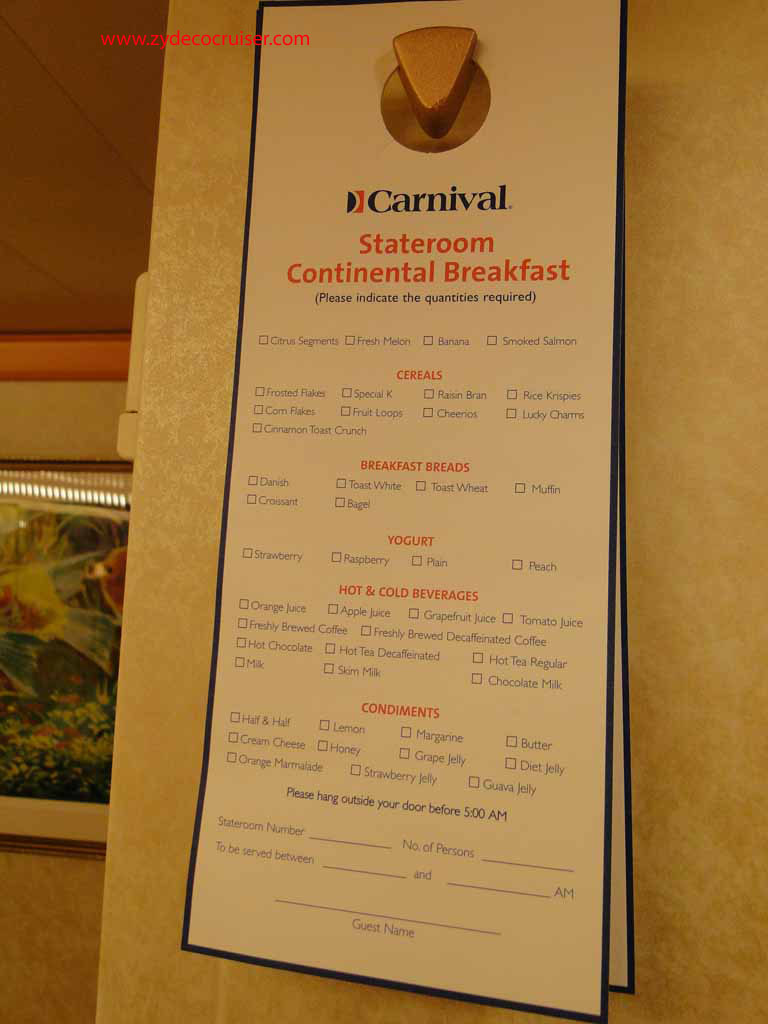 Carnival Magic Food Menu