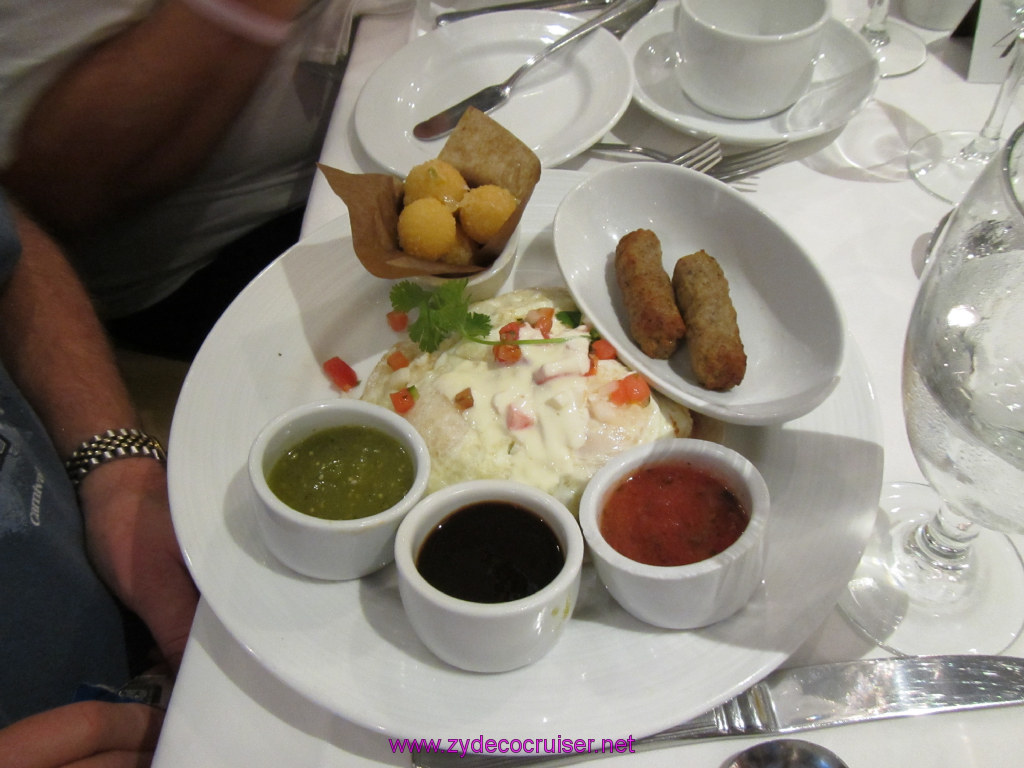 019: Carnival Cruise Seaday Brunch, Huevos Rancheros with a side of sausage,