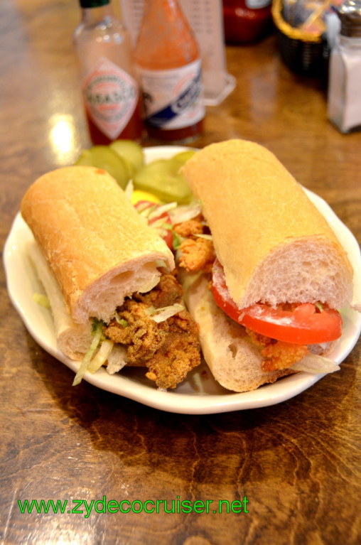 064: Baton Rouge Trip, March, 2011, New Orleans, Mandina's Restaurant, Half Shrimp Half Oyster Poboy