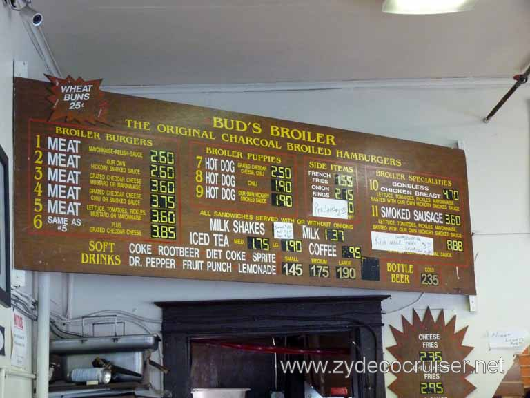 001: Bud's Broiler, New Orleans, City Park Ave Location, Menu