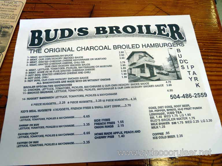 003: Bud's Broiler, New Orleans, City Park Ave Location, Menu
