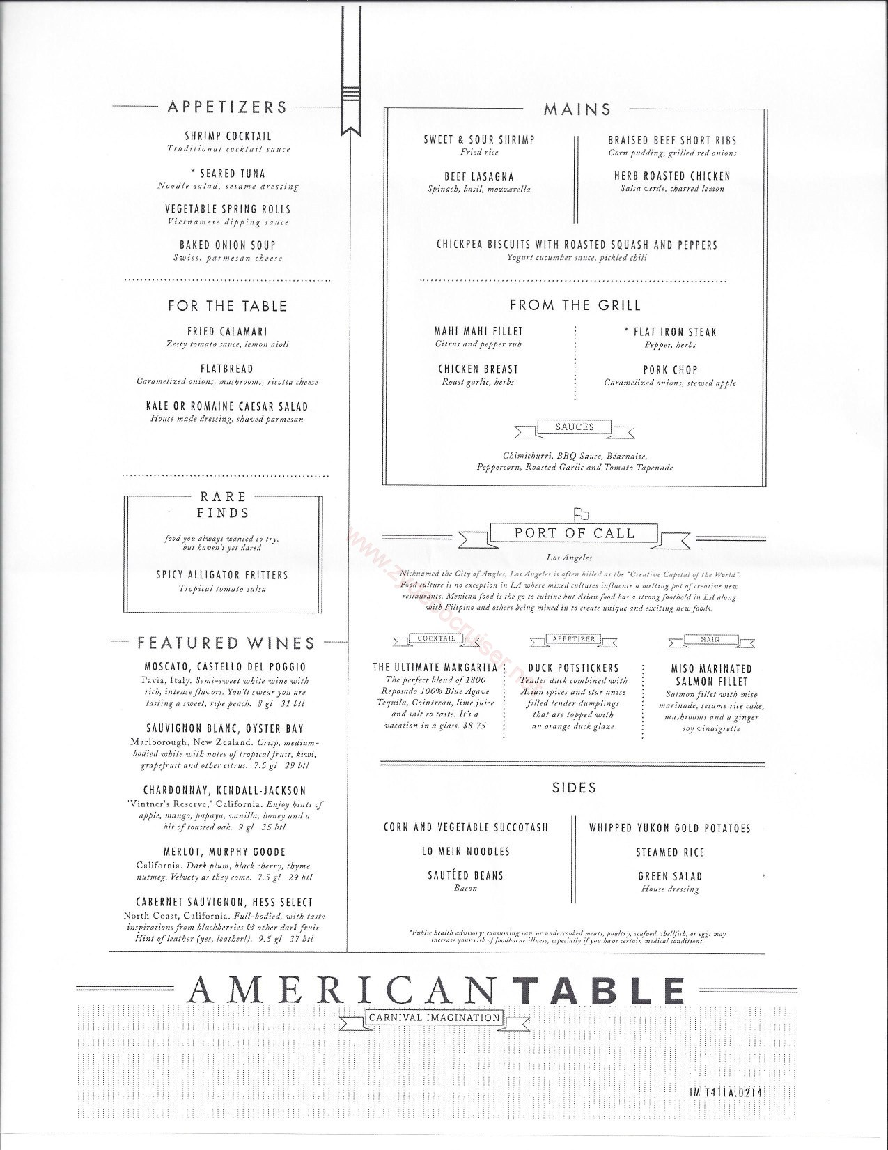 Carnival imagination american table mdr menus los angeles for Table menu restaurant