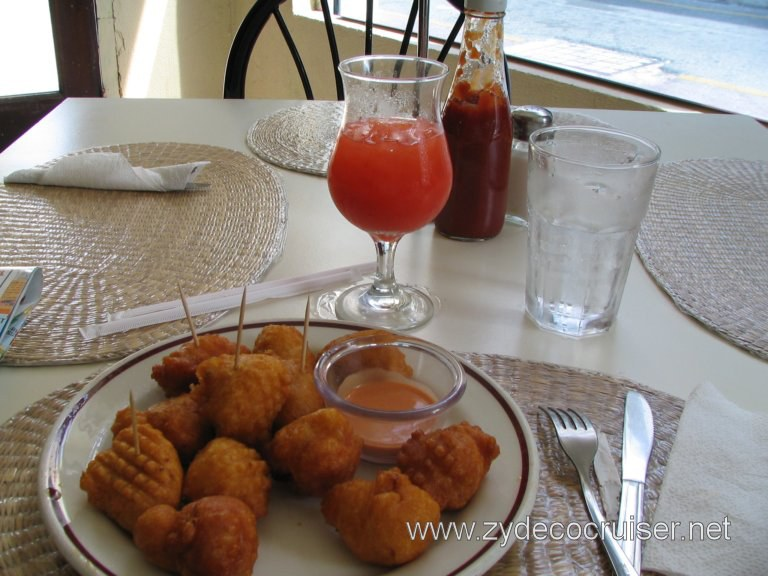 Conch Fritters and Rum Punch, Bahamian Kitchen Restaurant, Nassau, Bahamas