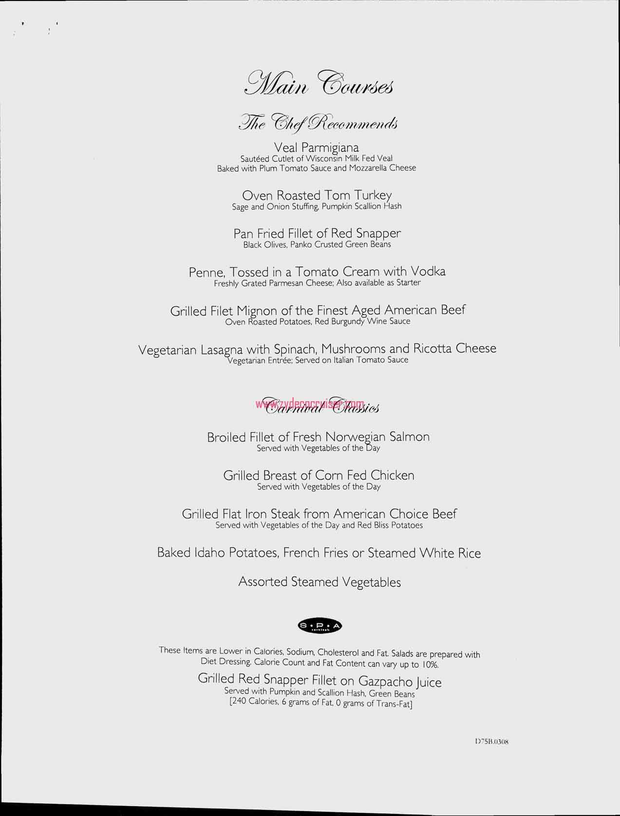 Dinner Menu, Day 4, Page 2, Carnival Freedom