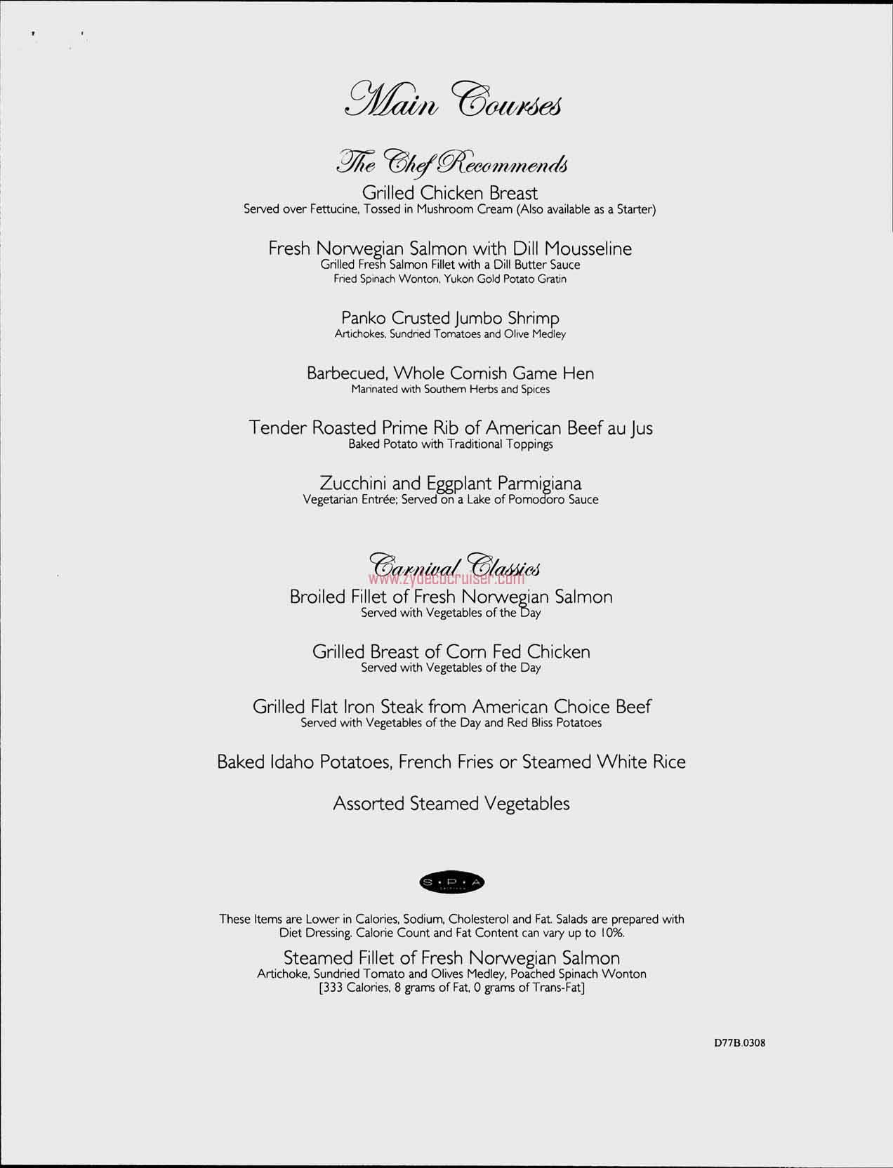 Dinner Menu, Day 6, Page 2, Carnival Freedom