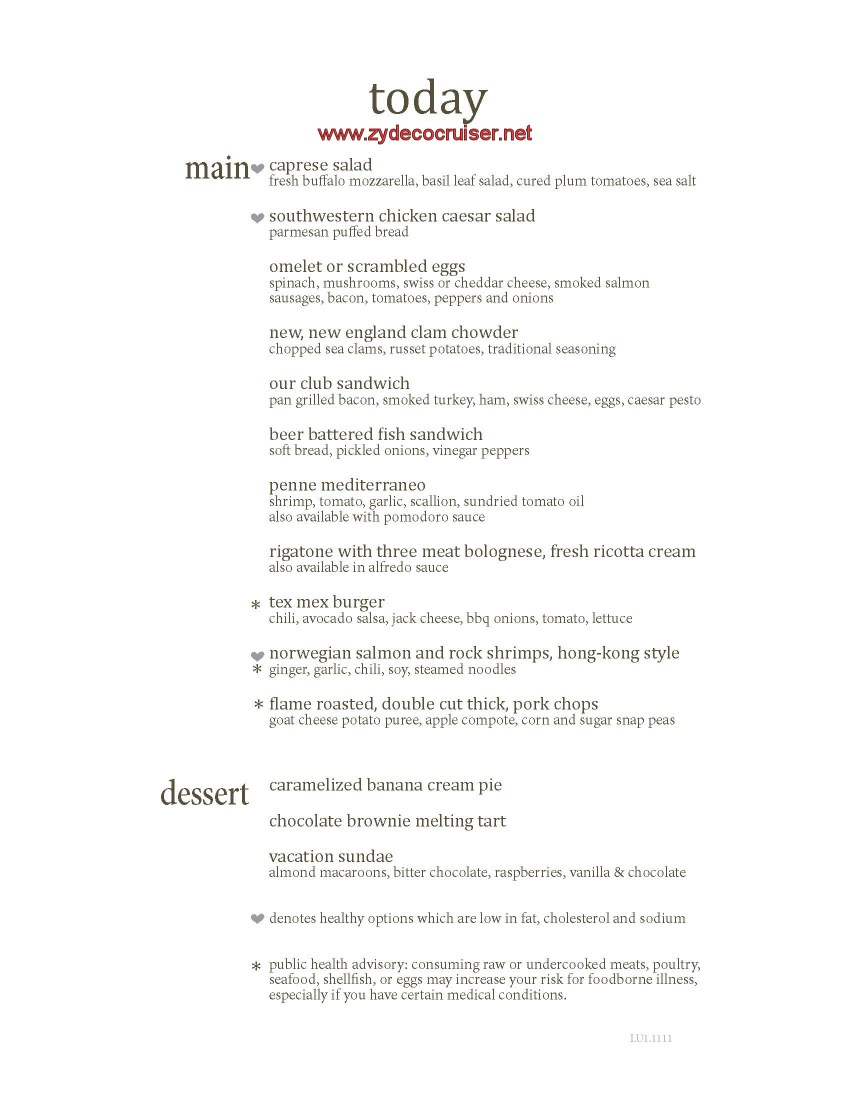 Carnival Cruise Main Dining Room Lunch Menu Food Pictures