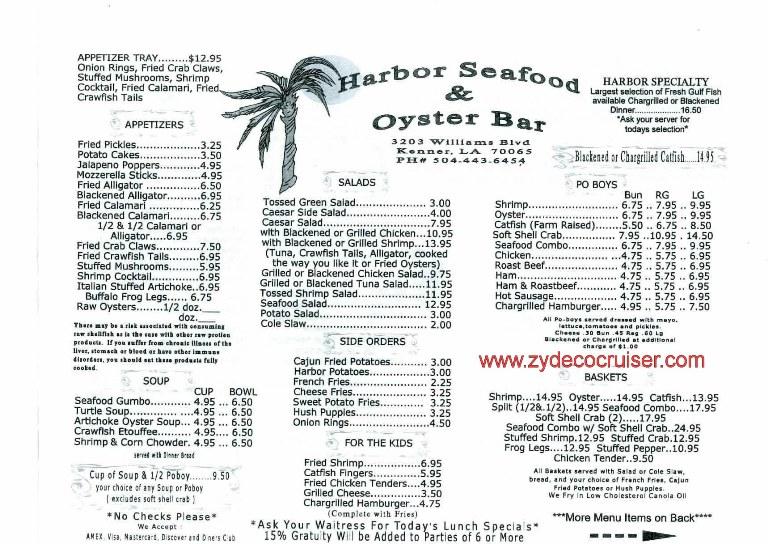 012 kenner la november 2010 harbor seafood and oyster for Bar food la menu
