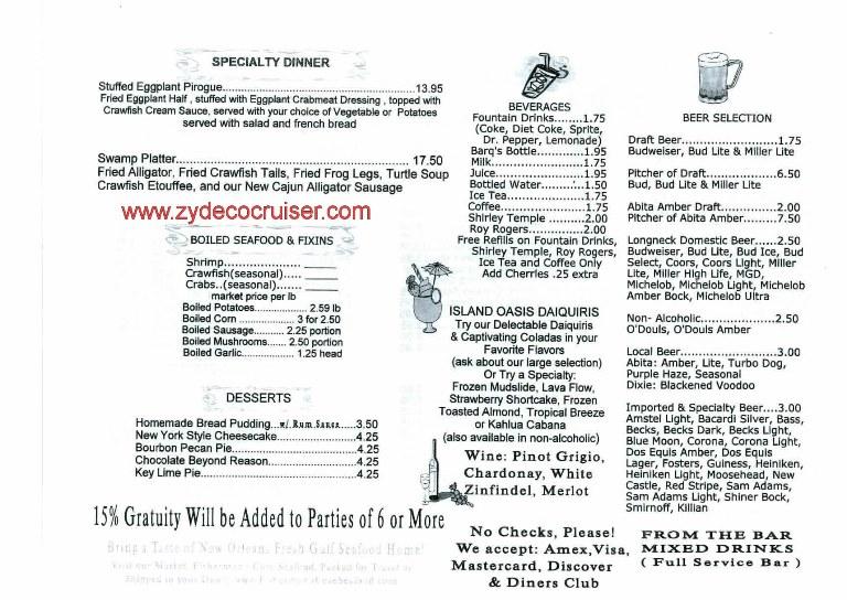 013 kenner la november 2010 harbor seafood and oyster for Bar food la menu
